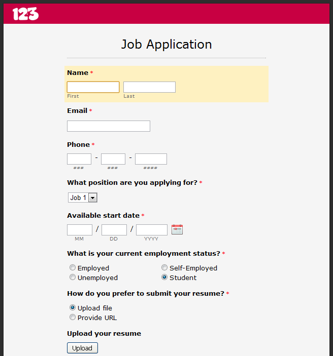 Basic Job Application Online job application form