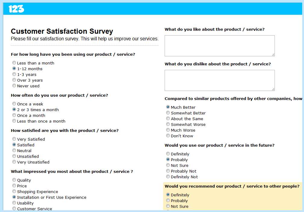 customer satisfaction questionnaire Customer satisfaction questions to ask suggested question type additional suggestions how long have you used sample survey questions, answers and tips.