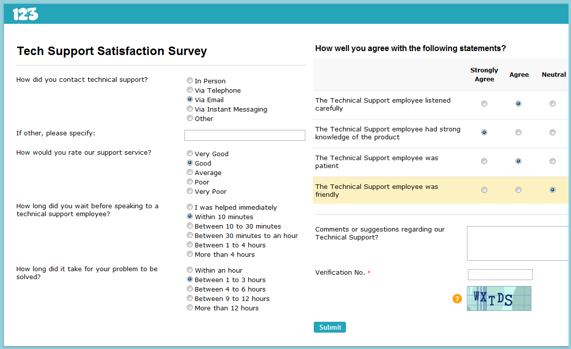 Technical Support Satisfaction Survey