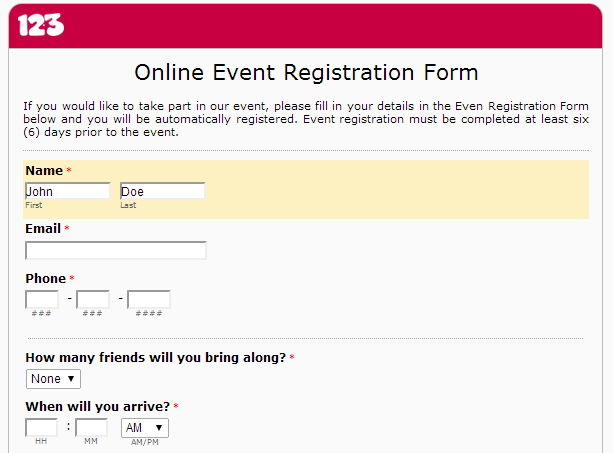 Event Form Template. event booking form. event registration form ...