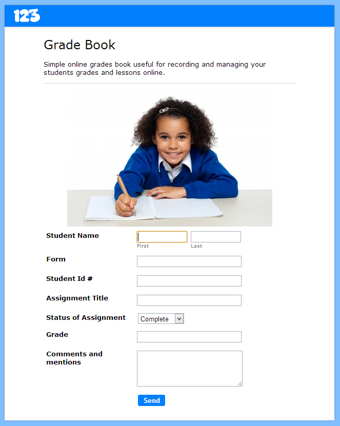 Online grade book form