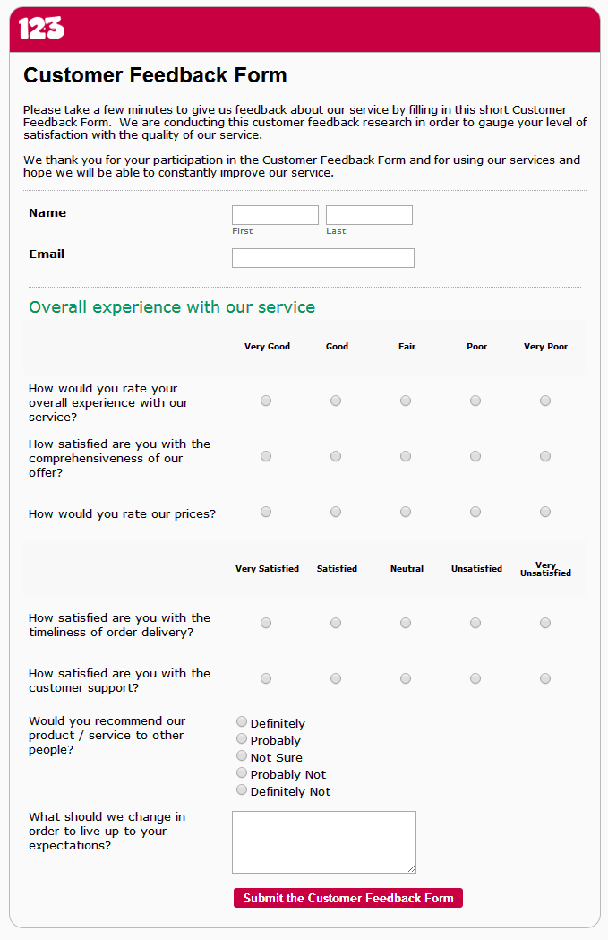 Exceptional Free Customer Feedback Form Template