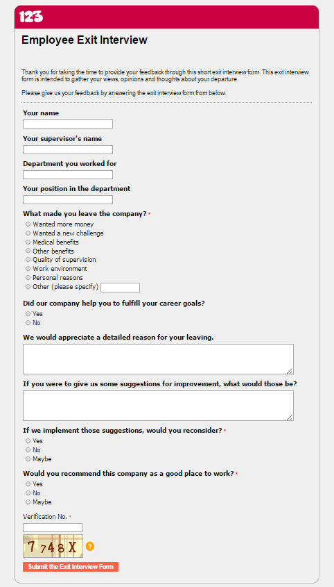 Top 3 Advantages of an Employee Exit Interview Form – Exit Interview Form