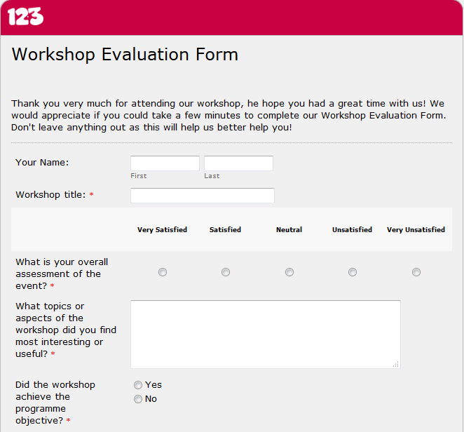 Workshop Evaluation Form The Ideal Tool For Great Events